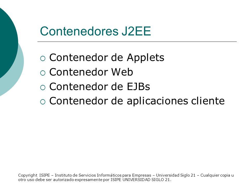 Contenedores J2EE Contenedor de Applets Contenedor Web Contenedor de EJBs Contenedor de aplicaciones cliente Copyright ISIPE – Instituto de Servicios