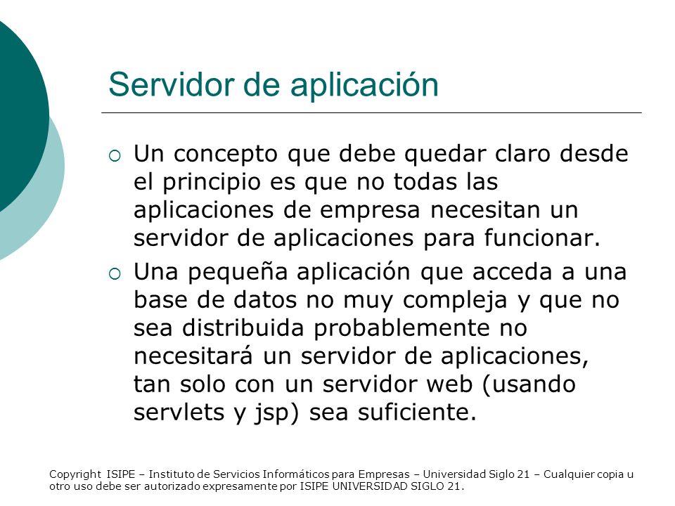 Servidor de aplicación Un concepto que debe quedar claro desde el principio es que no todas las aplicaciones de empresa necesitan un servidor de aplic