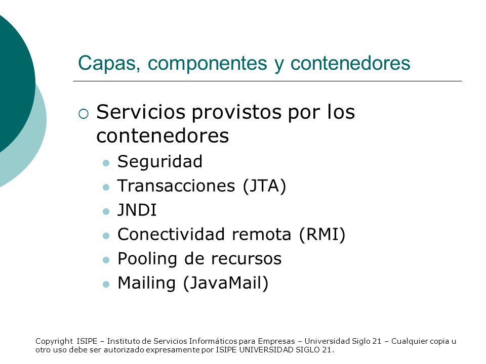 Capas, componentes y contenedores Servicios provistos por los contenedores Seguridad Transacciones (JTA) JNDI Conectividad remota (RMI) Pooling de rec