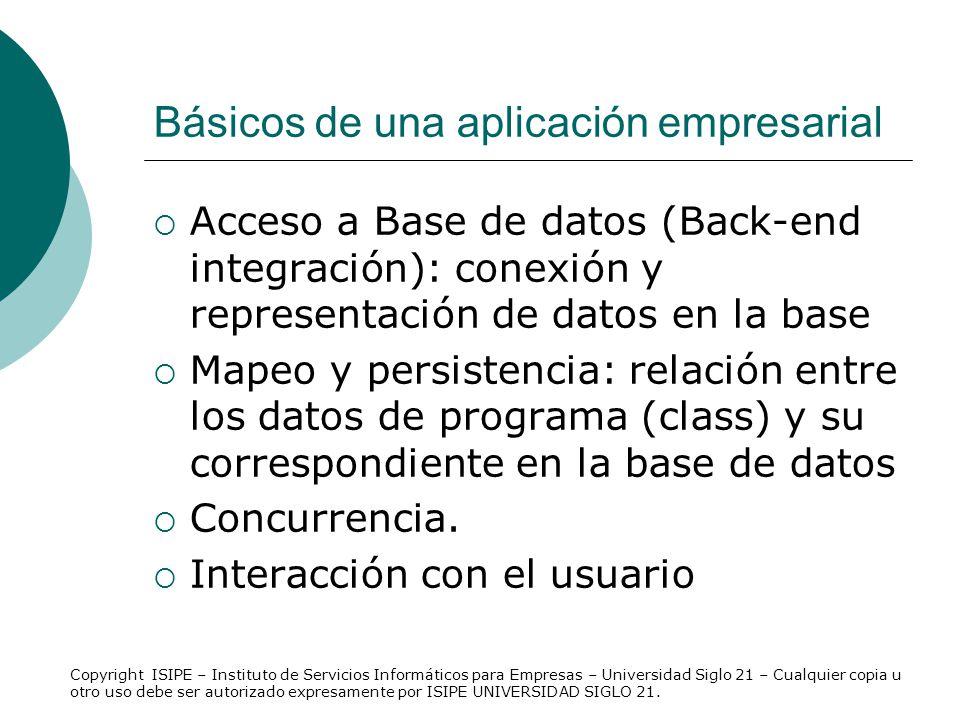 Básicos de una aplicación empresarial Acceso a Base de datos (Back-end integración): conexión y representación de datos en la base Mapeo y persistenci