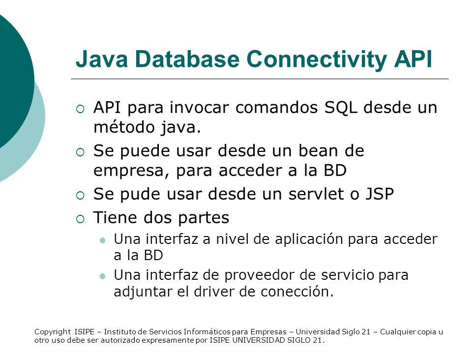 Java Database Connectivity API API para invocar comandos SQL desde un método java. Se puede usar desde un bean de empresa, para acceder a la BD Se pud