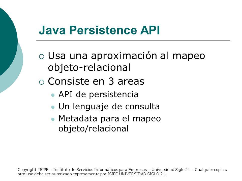 Java Persistence API Usa una aproximación al mapeo objeto-relacional Consiste en 3 areas API de persistencia Un lenguaje de consulta Metadata para el