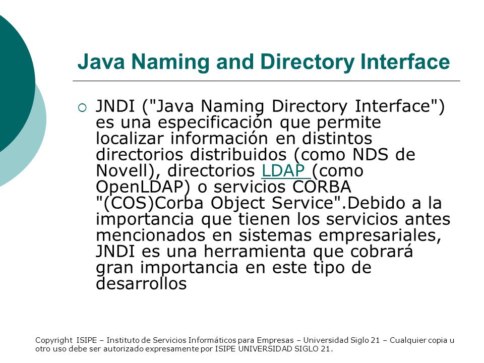 Java Naming and Directory Interface JNDI (