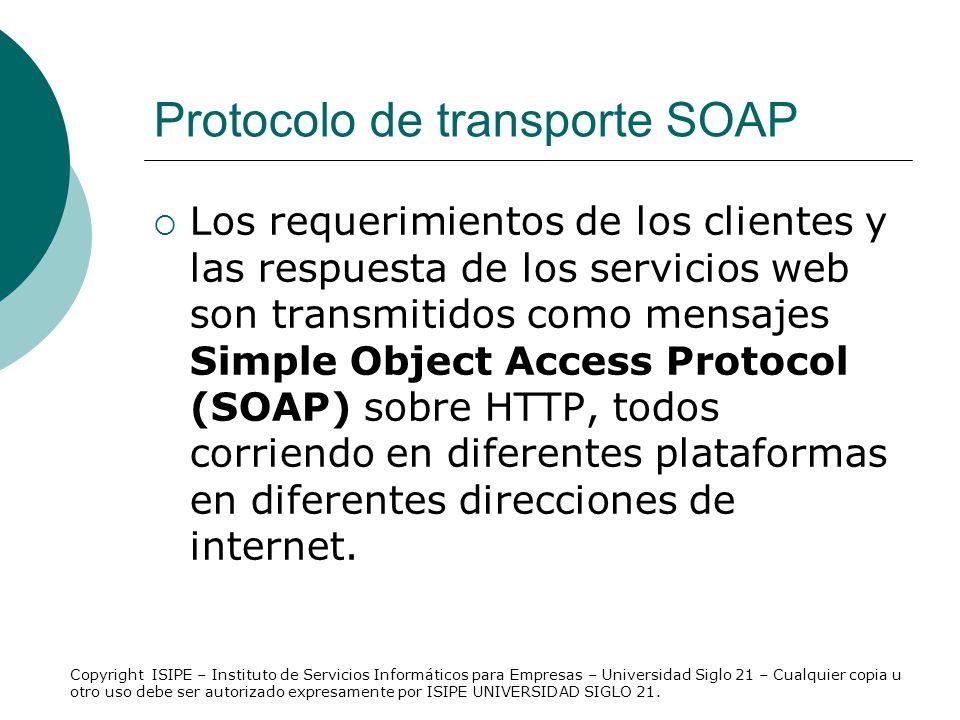 Protocolo de transporte SOAP Los requerimientos de los clientes y las respuesta de los servicios web son transmitidos como mensajes Simple Object Acce
