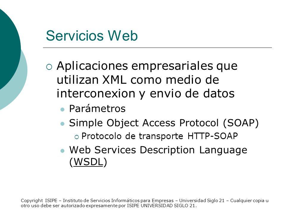 Servicios Web Aplicaciones empresariales que utilizan XML como medio de interconexion y envio de datos Parámetros Simple Object Access Protocol (SOAP)