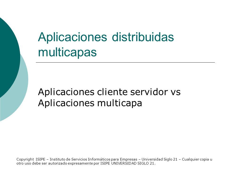 Aplicaciones distribuidas multicapas Aplicaciones cliente servidor vs Aplicaciones multicapa Copyright ISIPE – Instituto de Servicios Informáticos par
