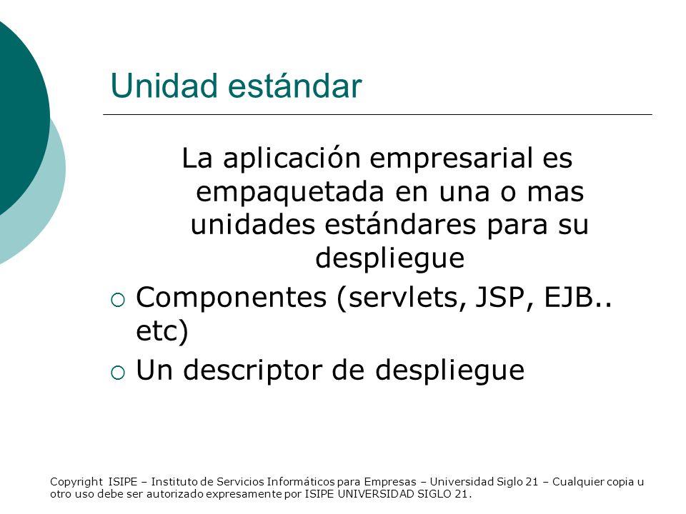 Unidad estándar La aplicación empresarial es empaquetada en una o mas unidades estándares para su despliegue Componentes (servlets, JSP, EJB.. etc) Un