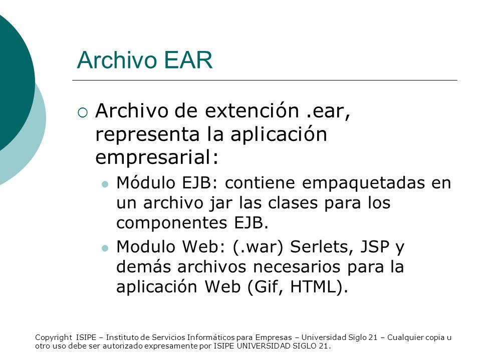 Archivo EAR Archivo de extención.ear, representa la aplicación empresarial: Módulo EJB: contiene empaquetadas en un archivo jar las clases para los co