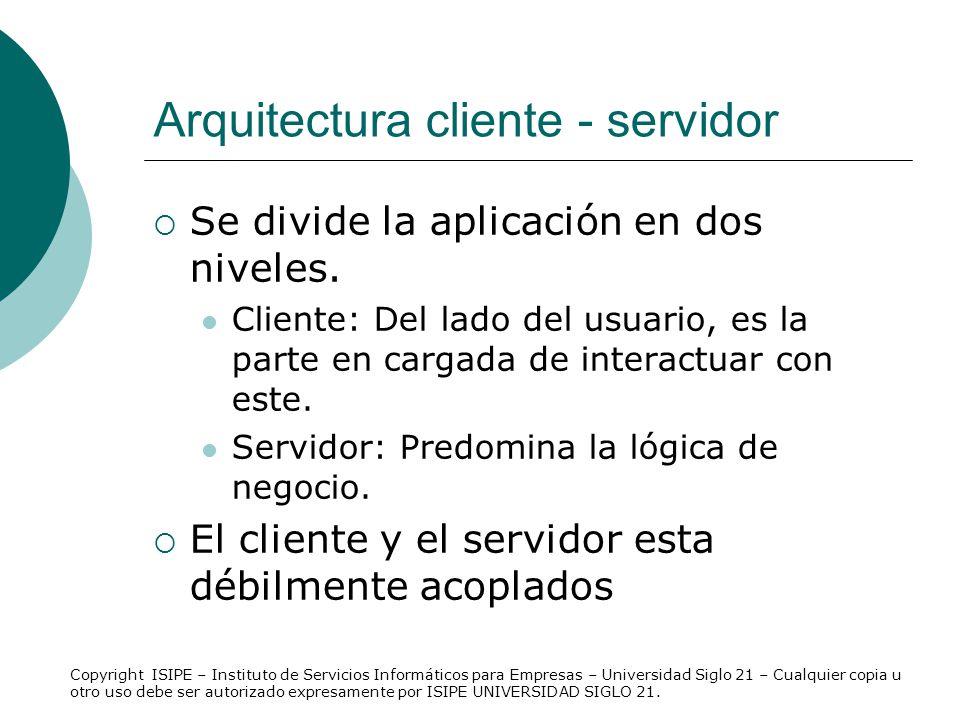 Arquitectura cliente - servidor Se divide la aplicación en dos niveles. Cliente: Del lado del usuario, es la parte en cargada de interactuar con este.