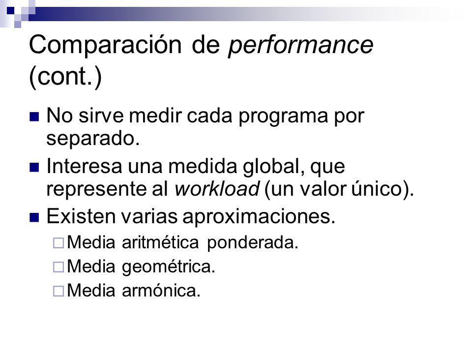 Comparación de performance (cont.) No sirve medir cada programa por separado. Interesa una medida global, que represente al workload (un valor único).