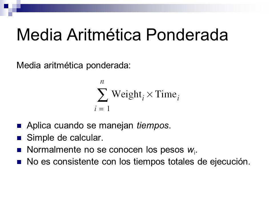 Media Aritmética Ponderada Media aritmética ponderada: Aplica cuando se manejan tiempos. Simple de calcular. Normalmente no se conocen los pesos w i.