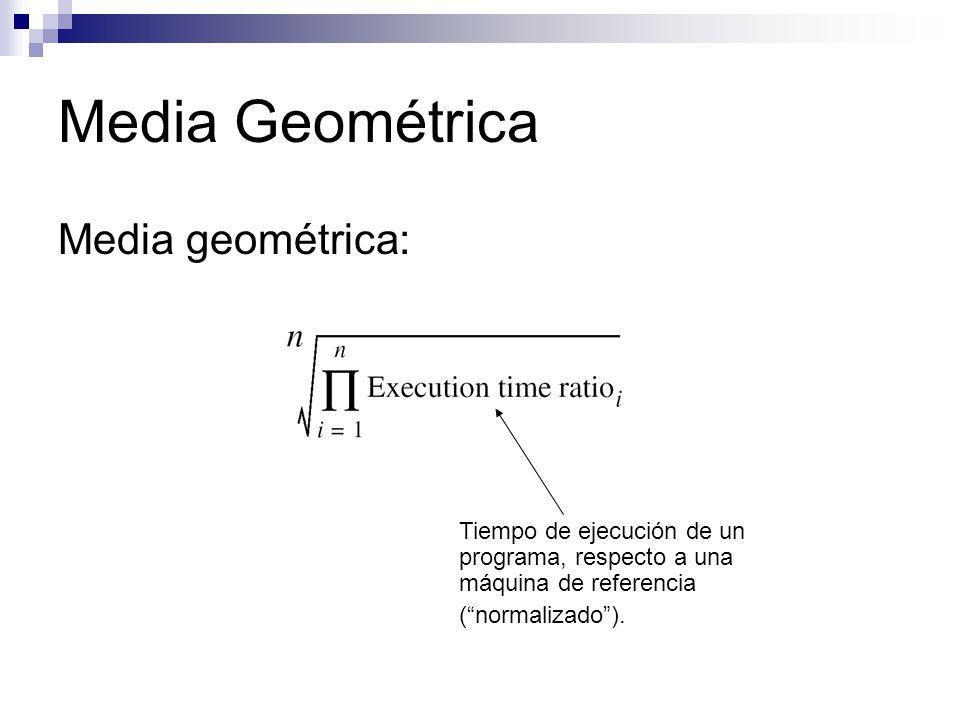 Media Geométrica Media geométrica: Tiempo de ejecución de un programa, respecto a una máquina de referencia (normalizado).