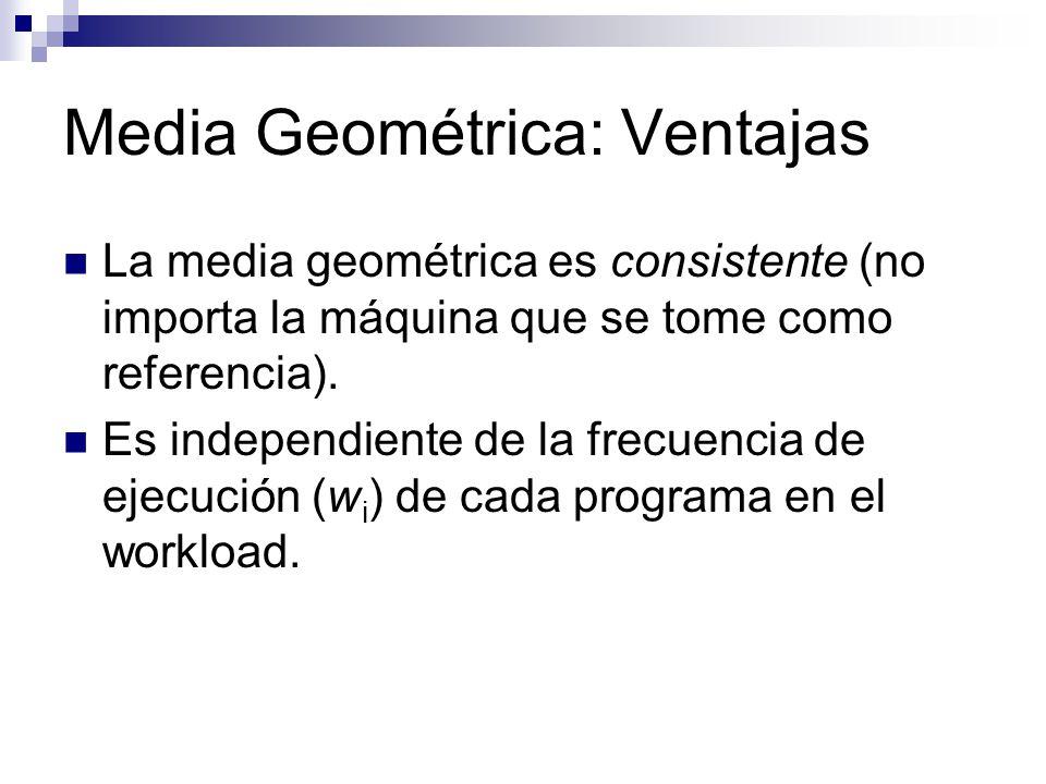 Media Geométrica: Ventajas La media geométrica es consistente (no importa la máquina que se tome como referencia). Es independiente de la frecuencia d
