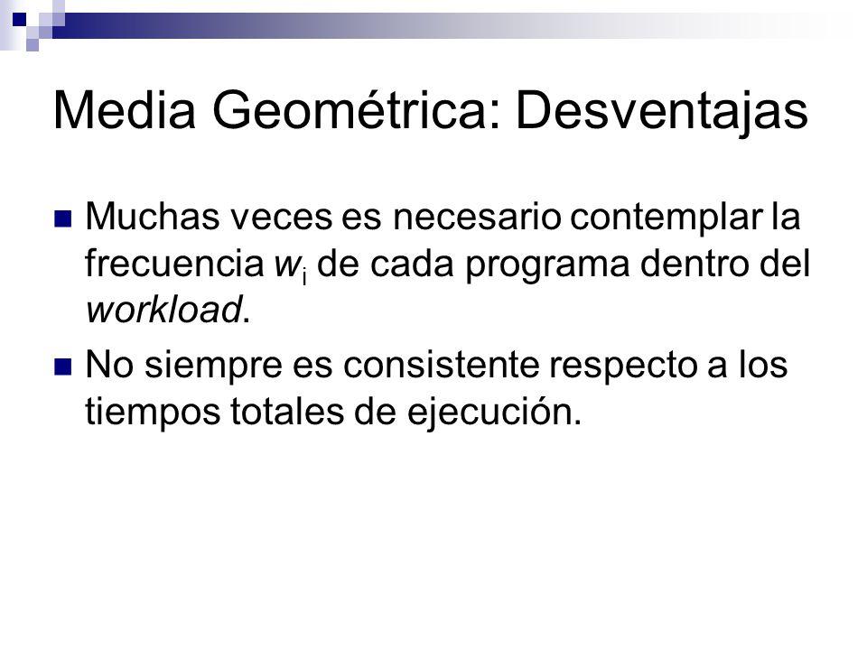 Media Geométrica: Desventajas Muchas veces es necesario contemplar la frecuencia w i de cada programa dentro del workload. No siempre es consistente r