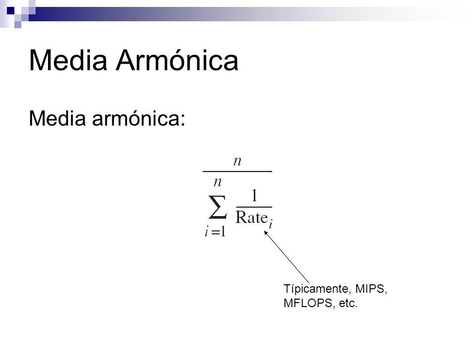 Media Armónica Media armónica: Típicamente, MIPS, MFLOPS, etc.