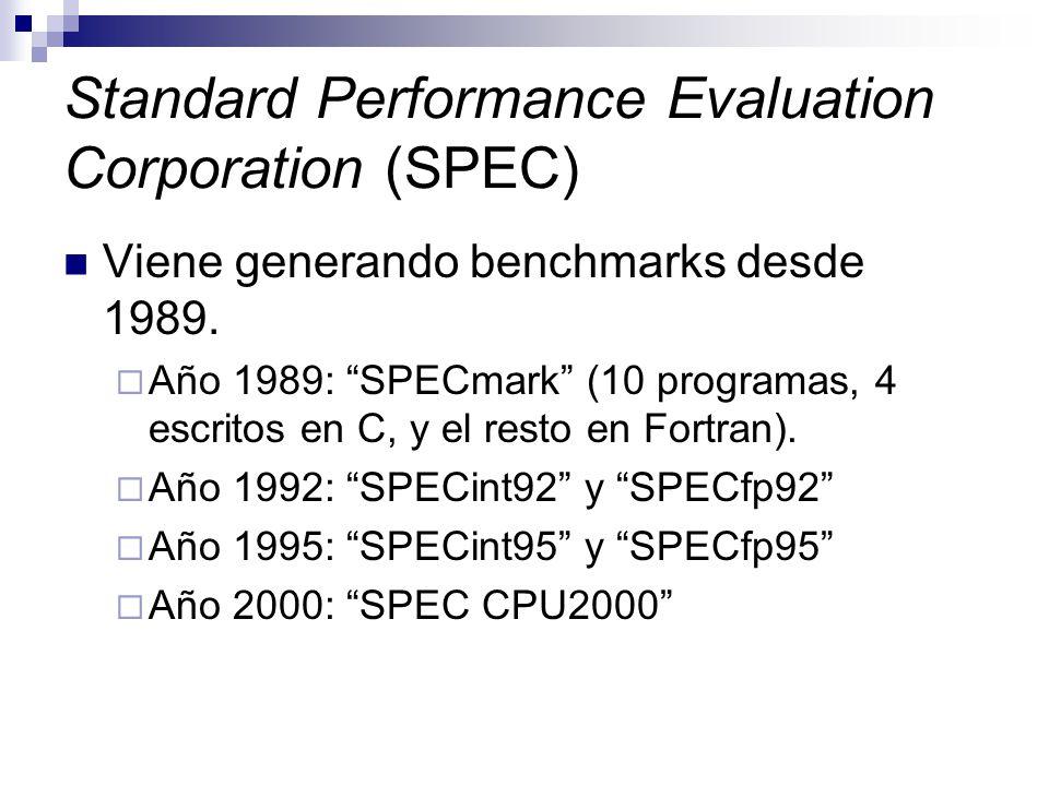 Standard Performance Evaluation Corporation (SPEC) Viene generando benchmarks desde 1989. Año 1989: SPECmark (10 programas, 4 escritos en C, y el rest