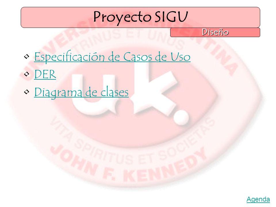 Especificación de Casos de Uso DER Diagrama de clases Proyecto SIGU Diseño Agenda