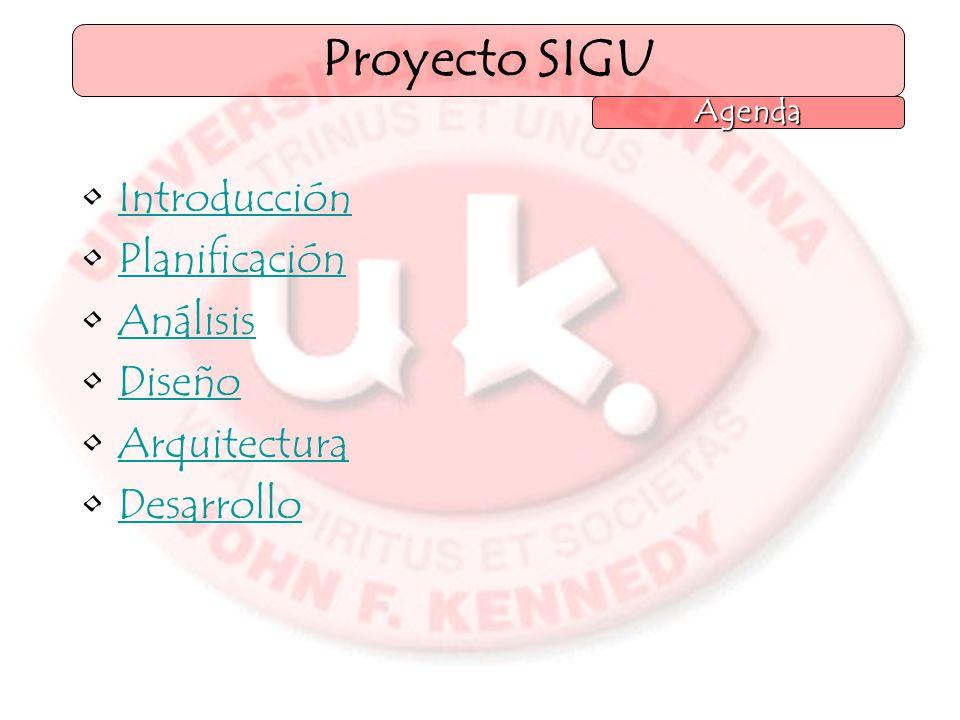 Introducción Planificación Análisis Diseño Arquitectura Desarrollo Proyecto SIGU Agenda