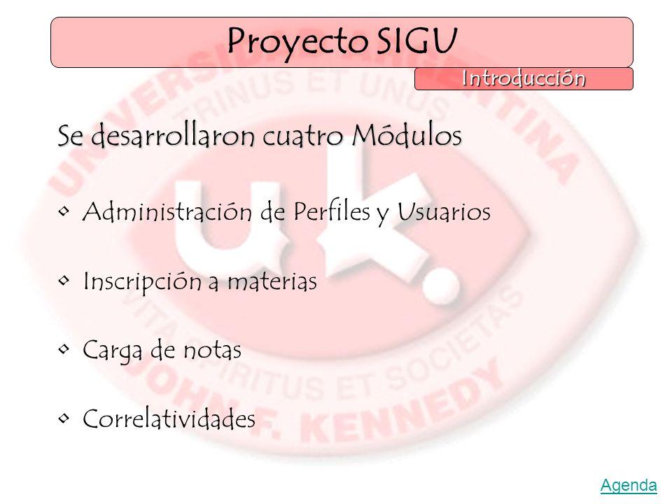 Se desarrollaron cuatro Módulos Administración de Perfiles y Usuarios Inscripción a materias Carga de notas Correlatividades Proyecto SIGU Introducción Agenda