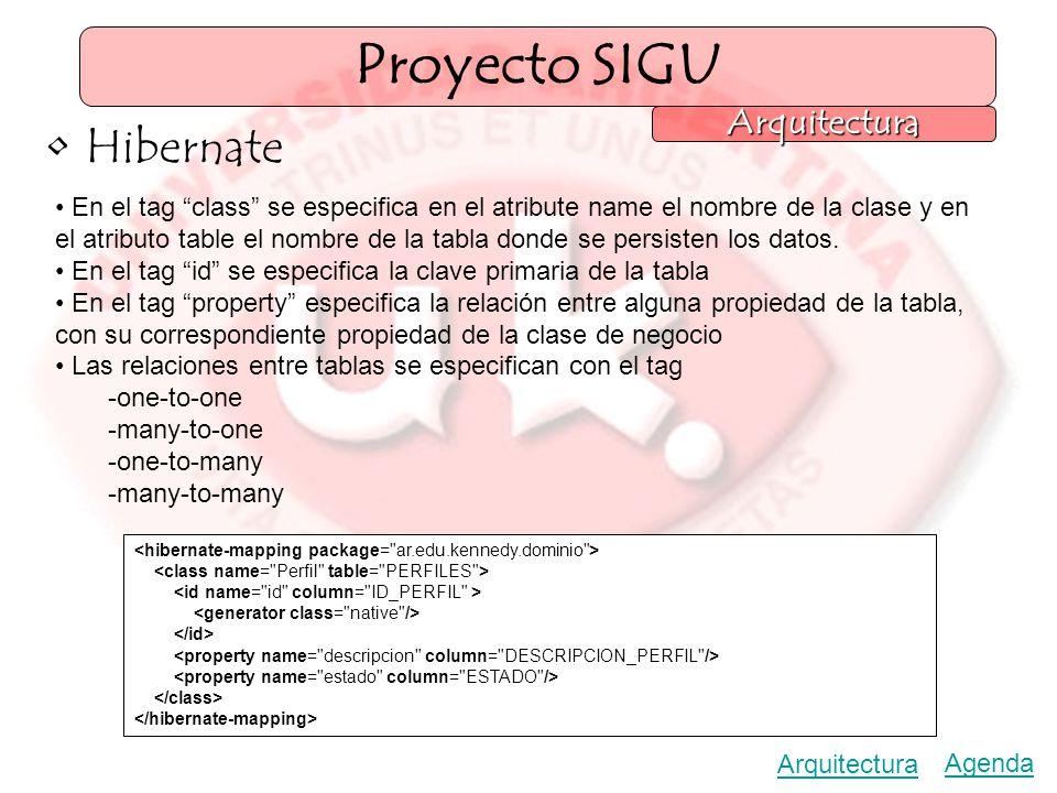 Proyecto SIGU Arquitectura Hibernate En el tag class se especifica en el atribute name el nombre de la clase y en el atributo table el nombre de la tabla donde se persisten los datos.