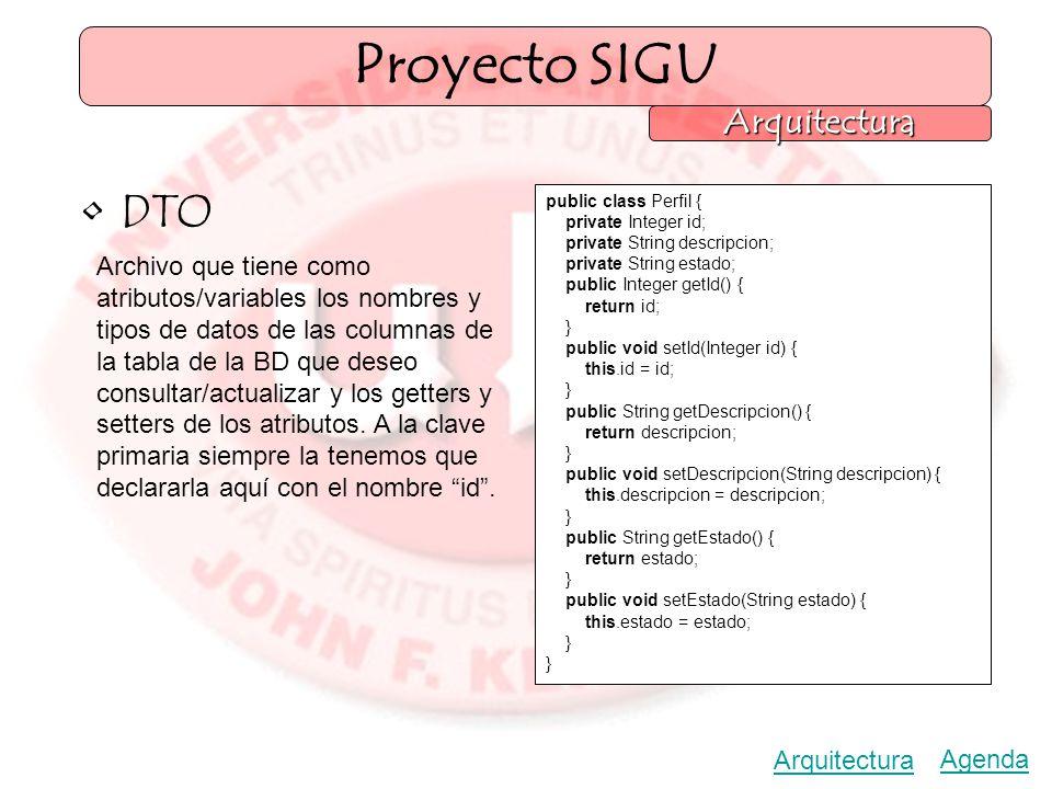 Agenda Arquitectura Proyecto SIGU Arquitectura DTO Archivo que tiene como atributos/variables los nombres y tipos de datos de las columnas de la tabla de la BD que deseo consultar/actualizar y los getters y setters de los atributos.