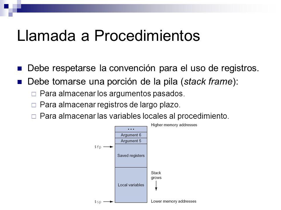 Llamada a Procedimientos Debe respetarse la convención para el uso de registros.
