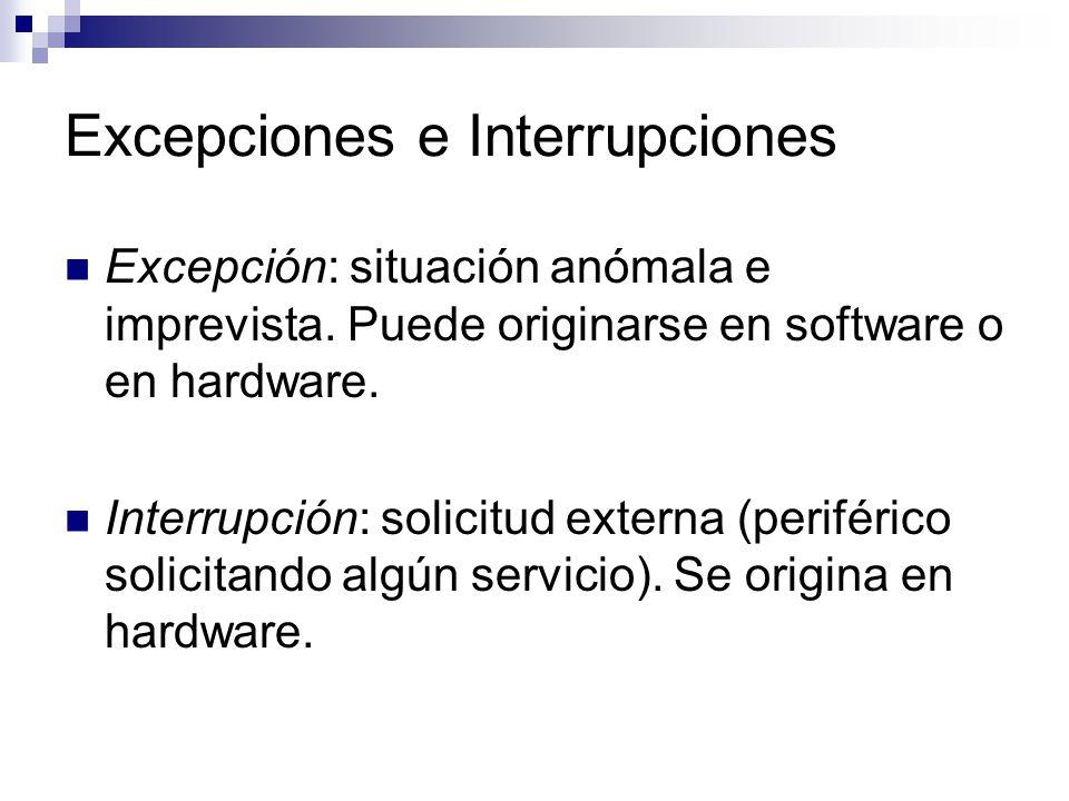Excepciones e Interrupciones Excepción: situación anómala e imprevista.