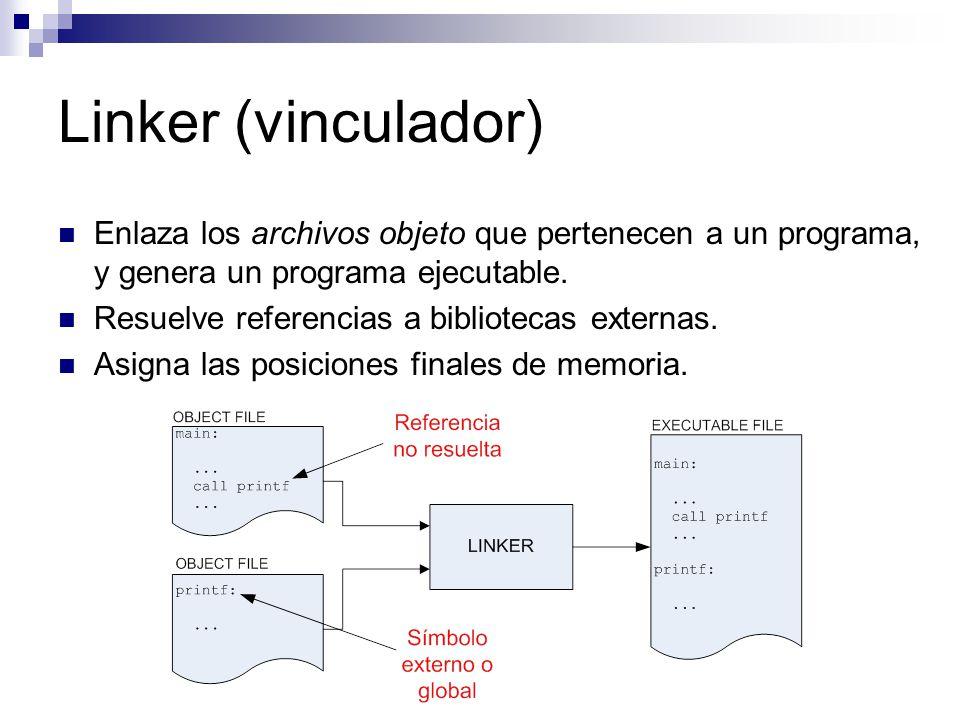 Linker (vinculador) Enlaza los archivos objeto que pertenecen a un programa, y genera un programa ejecutable. Resuelve referencias a bibliotecas exter