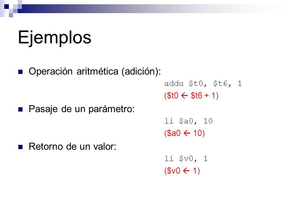 Ejemplos Operación aritmética (adición): addu $t0, $t6, 1 ($t0 $t6 + 1) Pasaje de un parámetro: li $a0, 10 ($a0 10) Retorno de un valor: li $v0, 1 ($v