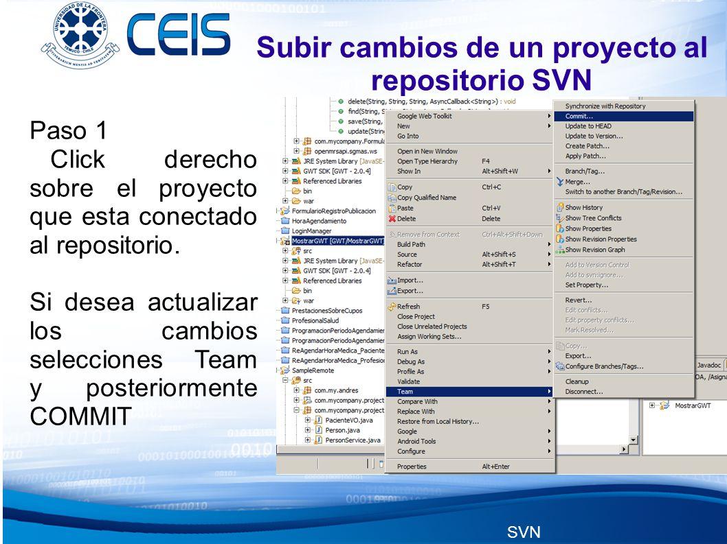 SVN Subir cambios de un proyecto al repositorio SVN Paso 1 Click derecho sobre el proyecto que esta conectado al repositorio.