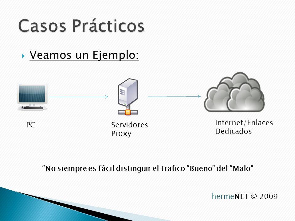 Veamos un Ejemplo: PCServidores Proxy Internet/Enlaces Dedicados No siempre es fácil distinguir el trafico Bueno del Malo hermeNET © 2009