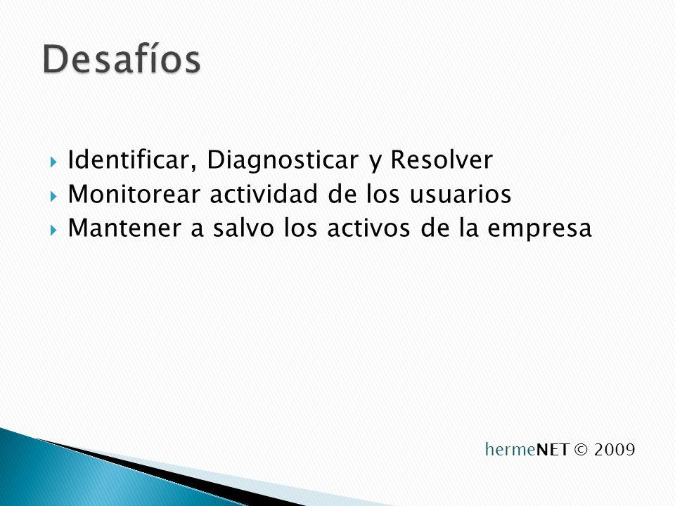 Identificar, Diagnosticar y Resolver Monitorear actividad de los usuarios Mantener a salvo los activos de la empresa hermeNET © 2009