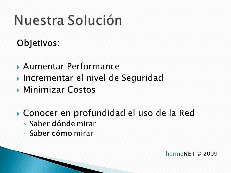 Objetivos: Aumentar Performance Incrementar el nivel de Seguridad Minimizar Costos Conocer en profundidad el uso de la Red Saber dónde mirar Saber cómo mirar hermeNET © 2009