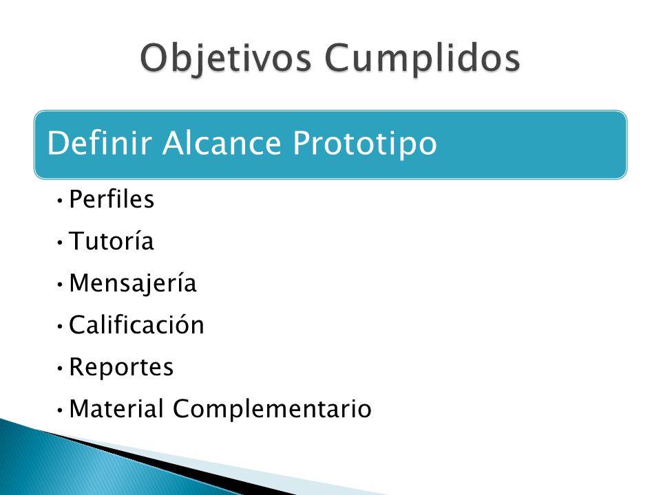 Definir Alcance Prototipo Perfiles Tutoría Mensajería Calificación Reportes Material Complementario
