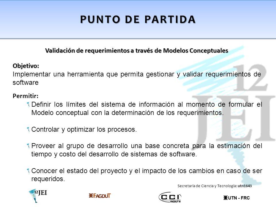 PUNTO DE PARTIDA Validación de requerimientos a través de Modelos Conceptuales Modelado conceptual de los requerimientos Registrar en la herramienta el esquema conceptual especificado que se desea validar, partiendo del modelado del negocio.