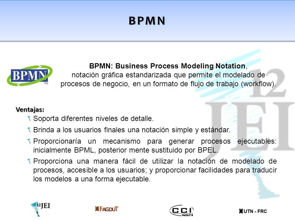 BPMN Ventajas: Soporta diferentes niveles de detalle. Brinda a los usuarios finales una notación simple y estándar. Proporcionaría un mecanismo para g
