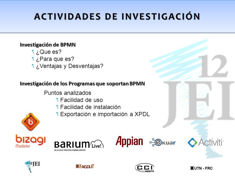 Investigación de los Programas que soportan BPMN Puntos analizados Facilidad de uso Facilidad de instalación Exportación e importación a XPDL ACTIVIDA
