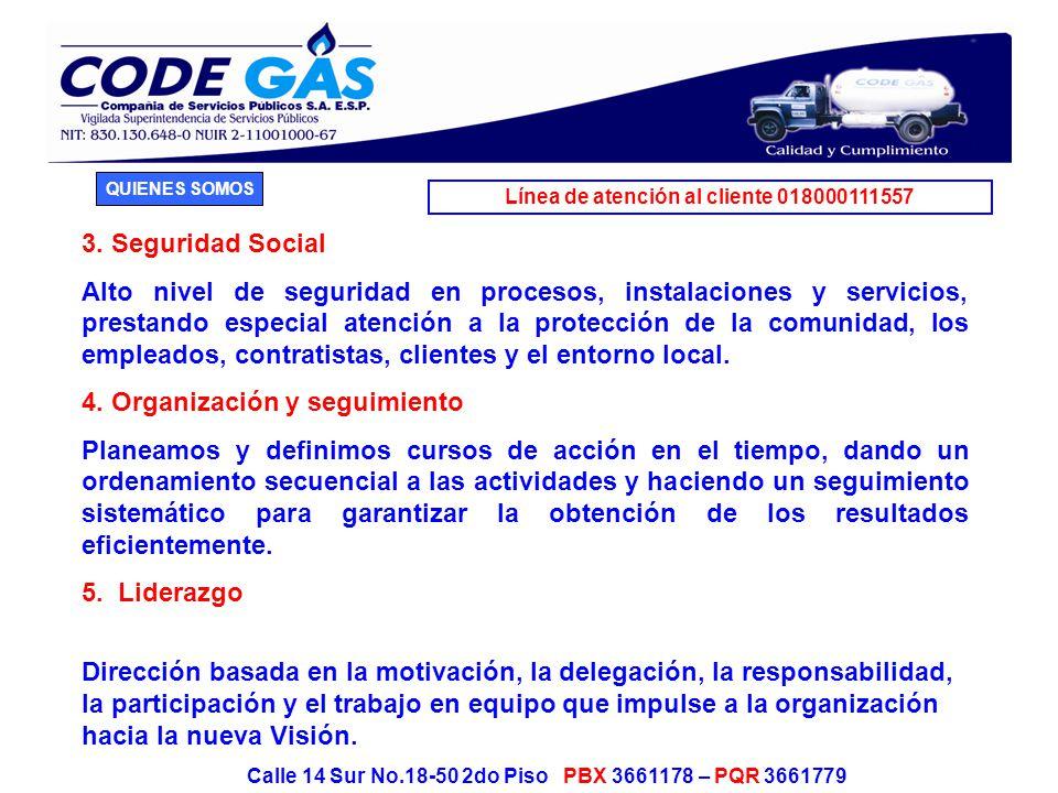Línea de atención al cliente 018000111557 Calle 14 Sur No.18-50 2do Piso PBX 3661178 – PQR 3661779 6.