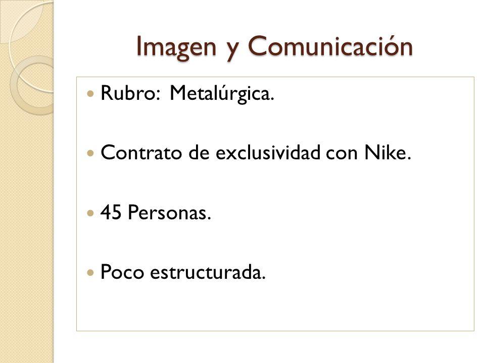 Imagen y Comunicación Rubro: Metalúrgica. Contrato de exclusividad con Nike. 45 Personas. Poco estructurada.