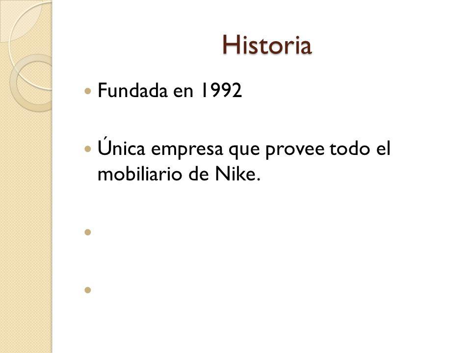 Historia Fundada en 1992 Única empresa que provee todo el mobiliario de Nike.