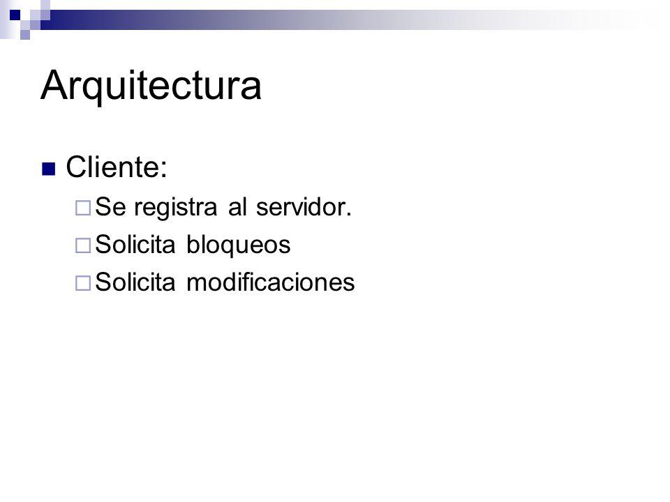 Arquitectura Cliente: Se registra al servidor. Solicita bloqueos Solicita modificaciones