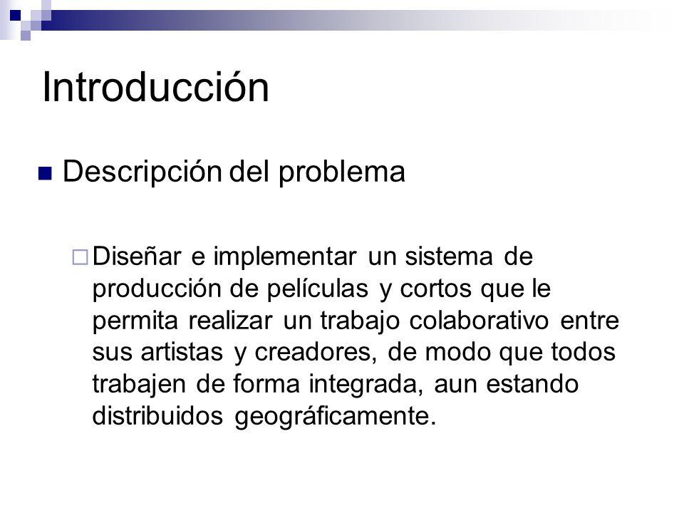 Introducción Descripción del problema Diseñar e implementar un sistema de producción de películas y cortos que le permita realizar un trabajo colabora