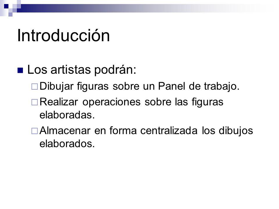Introducción Los artistas podrán: Dibujar figuras sobre un Panel de trabajo. Realizar operaciones sobre las figuras elaboradas. Almacenar en forma cen