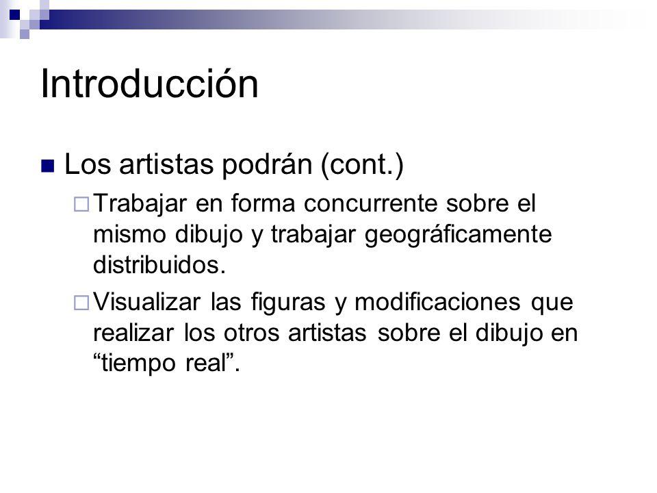 Introducción Los artistas podrán (cont.) Trabajar en forma concurrente sobre el mismo dibujo y trabajar geográficamente distribuidos. Visualizar las f