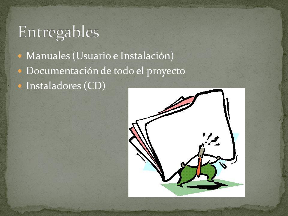 Manuales (Usuario e Instalación) Documentación de todo el proyecto Instaladores (CD)
