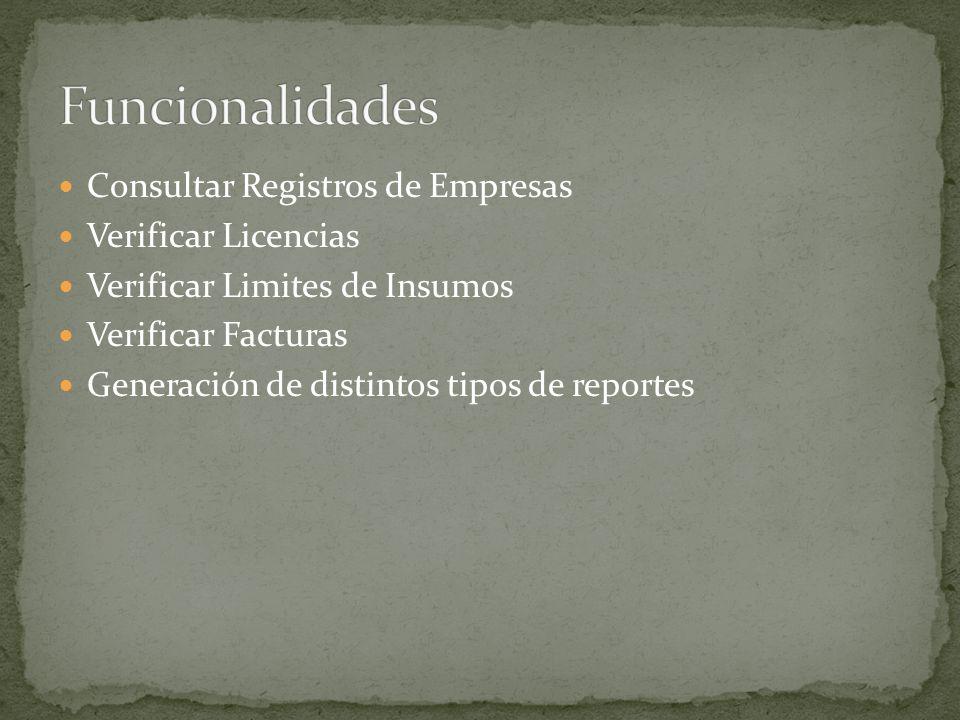 Consultar Registros de Empresas Verificar Licencias Verificar Limites de Insumos Verificar Facturas Generación de distintos tipos de reportes