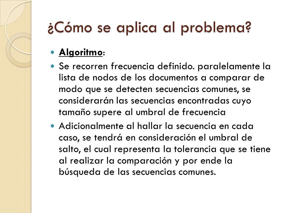 ¿Cómo se aplica al problema? Algoritmo: Se recorren frecuencia definido. paralelamente la lista de nodos de los documentos a comparar de modo que se d
