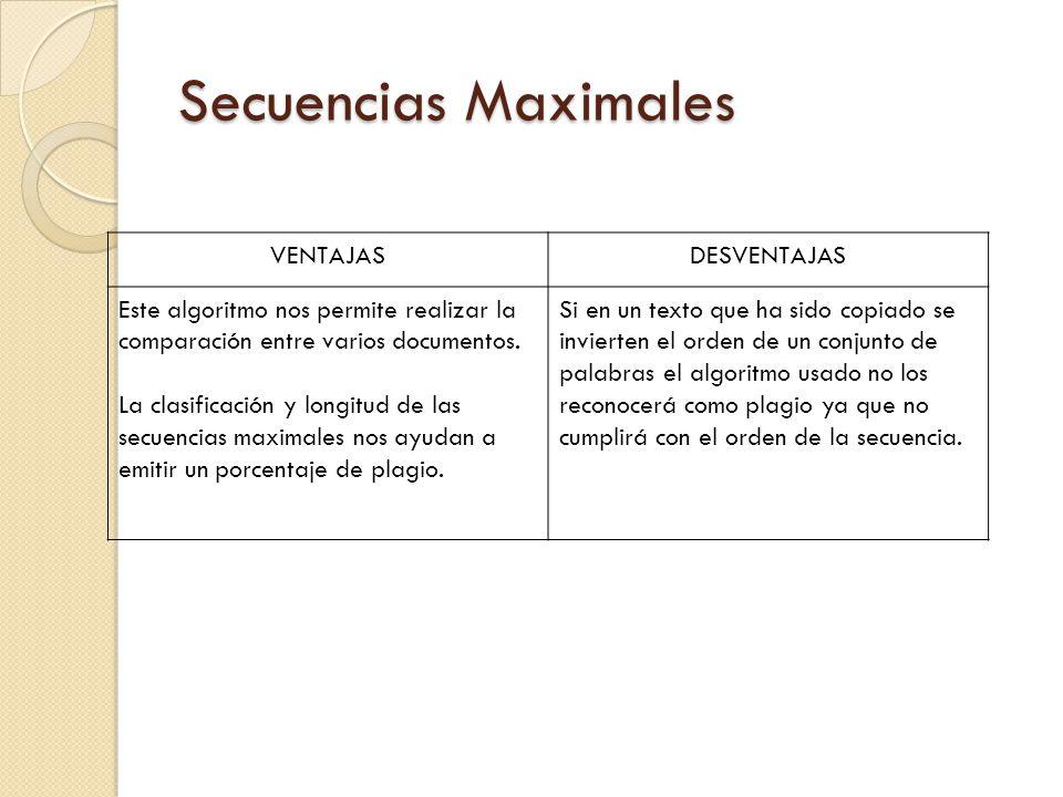 Secuencias Maximales VENTAJASDESVENTAJAS Este algoritmo nos permite realizar la comparación entre varios documentos. La clasificación y longitud de la