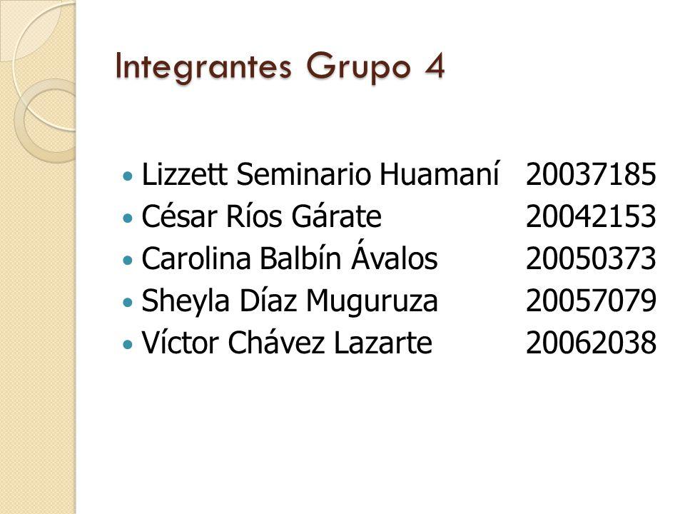 Integrantes Grupo 4 Lizzett Seminario Huamaní20037185 César Ríos Gárate 20042153 Carolina Balbín Ávalos 20050373 Sheyla Díaz Muguruza 20057079 Víctor