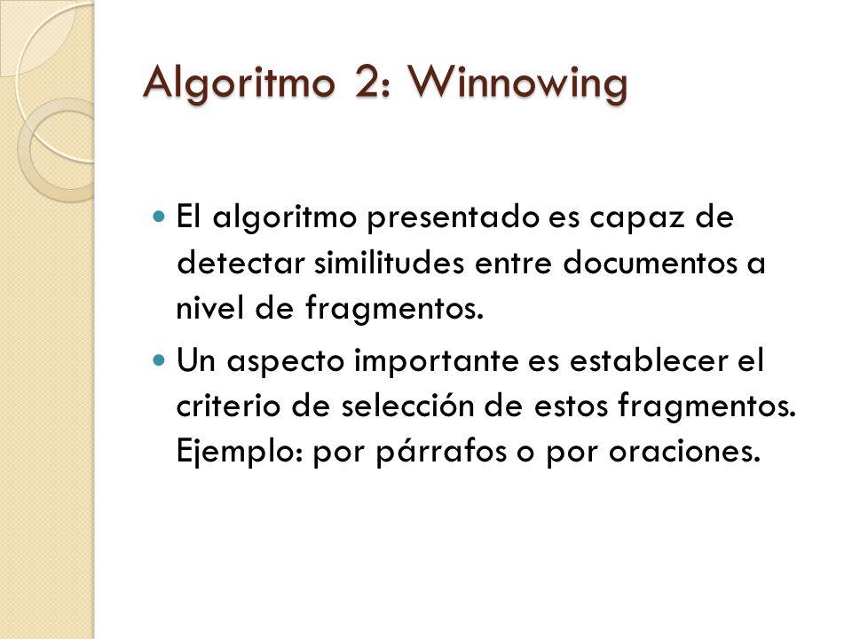 Algoritmo 2: Winnowing El algoritmo presentado es capaz de detectar similitudes entre documentos a nivel de fragmentos.